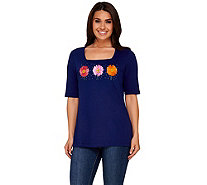 Quacker Factory Daisy Fun Square Neck Elbow Sleeve T-shirt - A264508