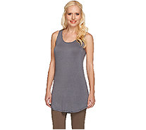 LOGO Layers by Lori Goldstein Racerback Knit Tank with Shirttail Hem - A264608
