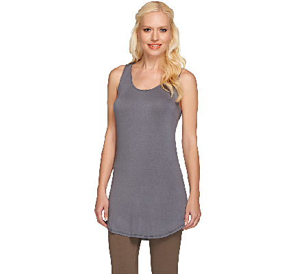 LOGO Layers by Lori Goldstein Racerback Knit Tank with Shirttail Hem