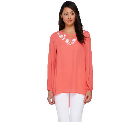 Susan Graver Artisan Woven Embellished Scoop Neck Top