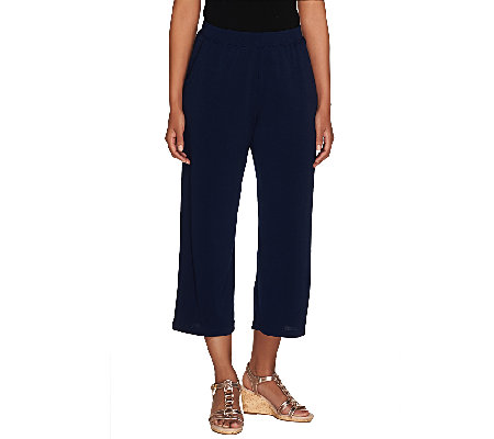 George Simonton Pull-On Crystal Knit Crop Pants with Pockets