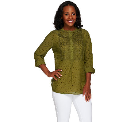Isaac Mizrahi Live! Embroidered Popover Top
