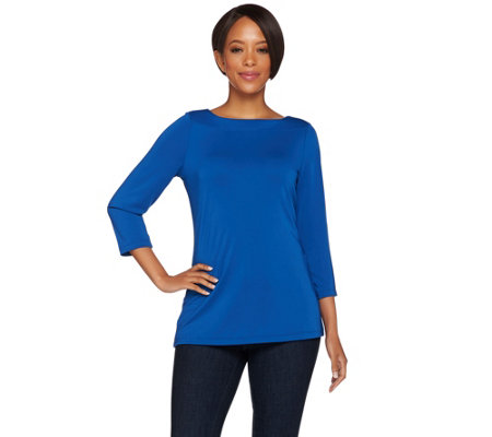 Susan Graver Premier Knit 3/4 Sleeve Bateau Neck Top