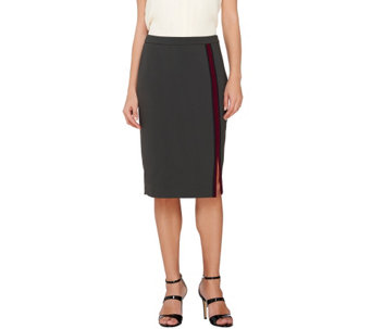 G.I.L.I. Double Face Color-Block Vertical Stripe Pencil Skirt - A268408