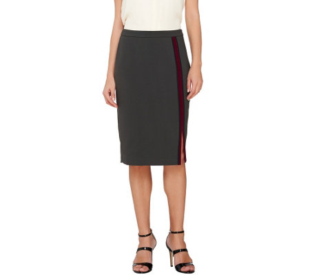 G.I.L.I. Double Face Color-Block Vertical Stripe Pencil Skirt