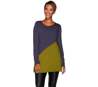 LOGO by Lori Goldstein Color-Block Knit Top with Pocket - A268908