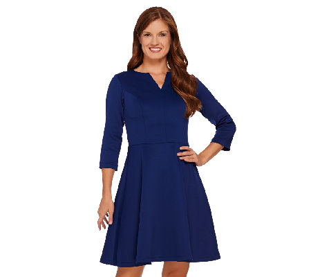 Isaac Mizrahi Live! Neoprene Dress w/ Split Neckline