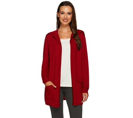 Susan Graver Rayon Nylon Hooded Open Front Cardigan
