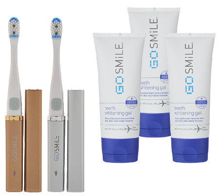 Go Smile Set Of 2 On The Go Sonic Whitening Toothbrushes