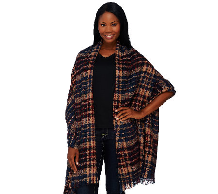 Tashon Boucle Fringed Plaid Runway Wrap