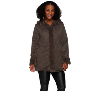 Dennis Basso Reversible Water Resistant to Faux Fur Hooded Parka - A271108