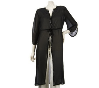 """As Is"" K-DASH by Kardashian Long Sheer Cardigan_with Sequin Trim - A272108"