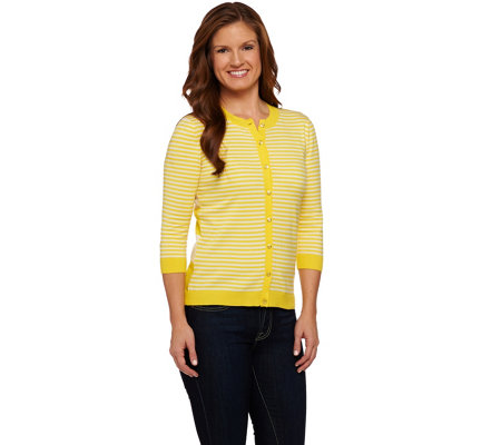 Isaac Mizrahi Live! Mixed Striped Cardigan with Rib Trim