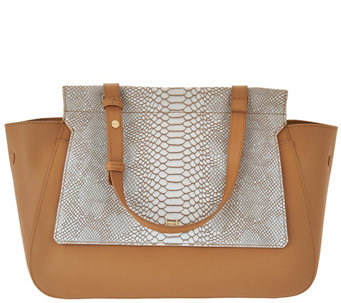 H by Halston Smooth Leather Satchel with Snake Embossed Flap - A274108