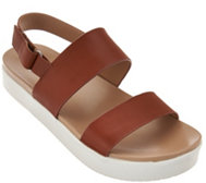 H by Halston Leather Platform Sandal - Brooke