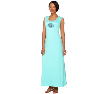 Quacker Factory Short Sleeveless Maxi Dress with Sequined Motif - A275308