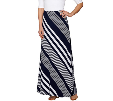 Susan Graver Striped Liquid Knit Maxi Skirt - Petite