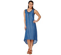Studio By Denim & Co. Hi-Low Hem Tencel Denim Tank Dress - A276108