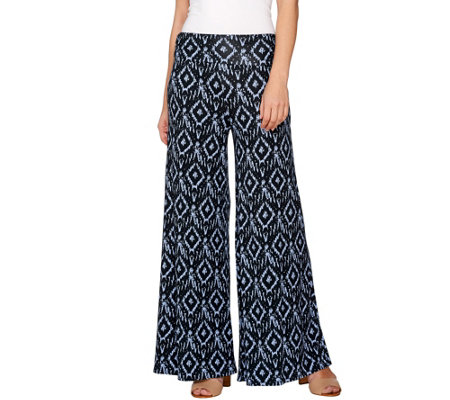 Lisa Rinna Collection Petite Ikat Printed Palazzo Pants