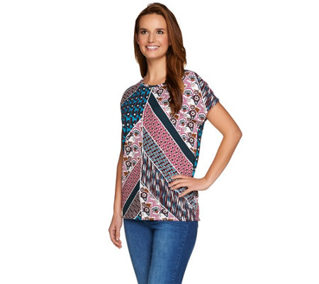 Studio by Denim & Co. Placement Print Short Sleeve Dolman Top