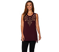 LOGO Lavish by Lori Goldstein Cotton Tank with Beaded Chiffon Overlay - A279408