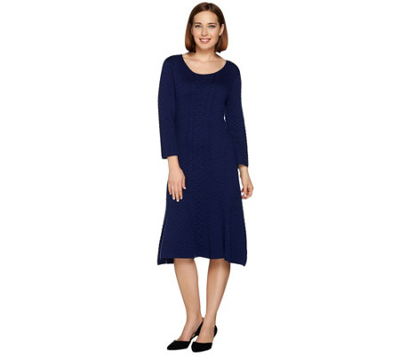 Isaac Mizrahi Live! Quilted Pattern Textured Stitch Sweater Dress