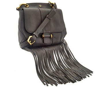 """As Is"" orYANY Italian Grain Leather Fringe Crossbody - Fannie - A282408"