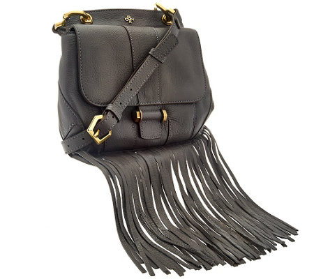 """As Is"" orYANY Italian Grain Leather Fringe Crossbody - Fannie"