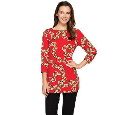 """As Is"" Susan Graver Weekend Printed Cotton Modal Bateau Neck Top"