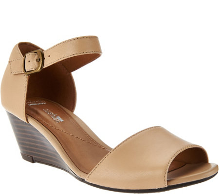 """As Is"" Clarks Leather Open Toe Wedge Sandals - Brielle Drive"