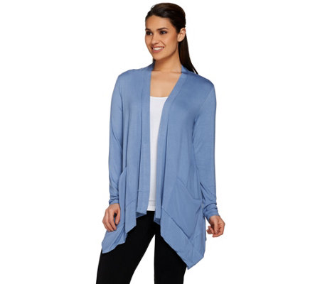 """As Is"" LOGO by Lori Goldstein Open Front Cardigan with Chiffon Pockets"