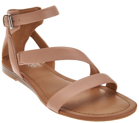 """As Is"" Franco Sarto Leather Multi-strap Sandals - Gracia 2"