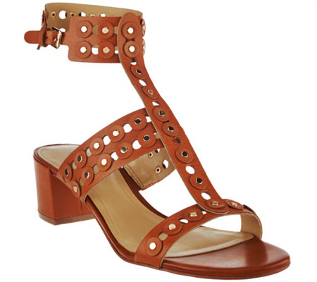 """As Is"" Marc Fisher Leather T-strap Block Heel Sandals - Johnay"