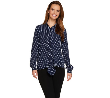 """As Is"" Susan Graver Stretch Woven Tie Front Shirt"