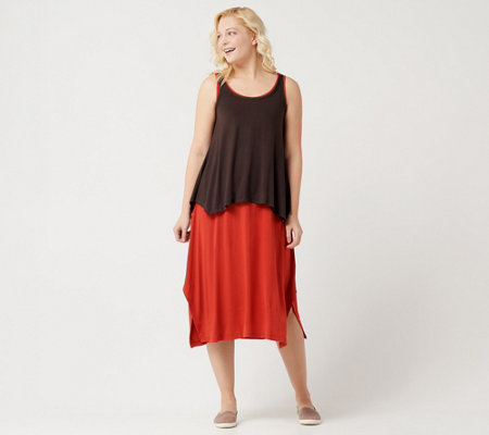 LOGO by Lori Goldstein Asymmetric Maxi Dress and Tank Twin Set