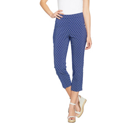 Susan Graver Printed Stretch Woven Pull-On Crop Pants
