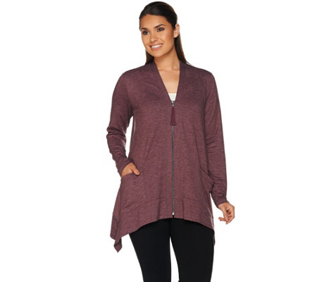 """As Is"" LOGO Lounge by Lori Goldstein Zip Front Cardigan with Pockets"