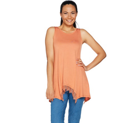 LOGO Layers by Lori Goldstein Knit Tank with Handkerchief Lace Hem