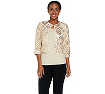 Bob Mackie's 3/4 Sleeve Sequin Cardigan and Knit Tank Set - A290708