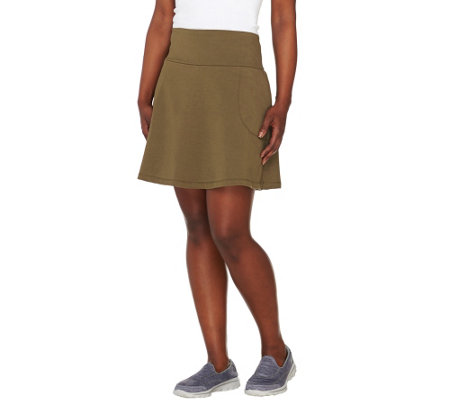 """As Is"" Women with Control Petite Tummy Control Skort w/ Pockets"
