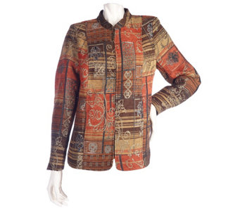"""As Is"" Susan Graver Printed Tapestry Jacket with Stand Collar - A291308"