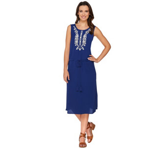"""AsIs"" C.Wonder Embroidered Midi Dress w/ Drawstring Waist - A291508"