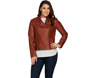 """As Is"" Lisa Rinna Collection Faux Leather Motorcycle Jckt - A293208"