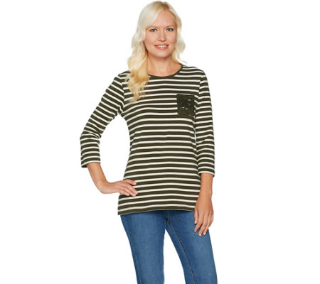 Denim & Co. Perfect Jersey Striped 3/4 Sleeve Top with Lace Pocket
