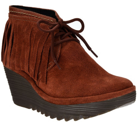 FLY London Suede Wedge Fringe Lace-up Ankle Boots - Yank