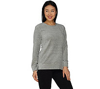 Denim & Co. Active Spacedye Velour Hi-Low Hem Crew Neck Top - A300808