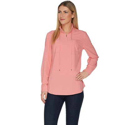 Denim & Co. Woven Half-Zip Long Sleeve Pullover Shirt