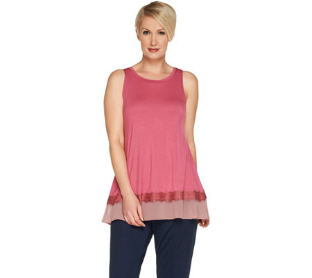 LOGO Layers by Lori Goldstein Knit Tank Top with Ruffle & Lace Hem