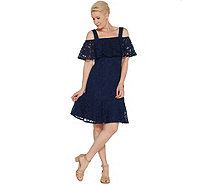 Isaac Mizrahi Live! Lace Ruffle Cold Shoulder Dress - A308008
