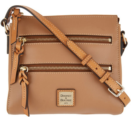 """As Is"" Dooney & Bourke Smooth Leather Triple Zip Crossbody- Peyton"